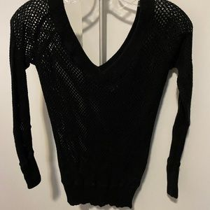 Theory Black Open Knit Sweater Size S $50